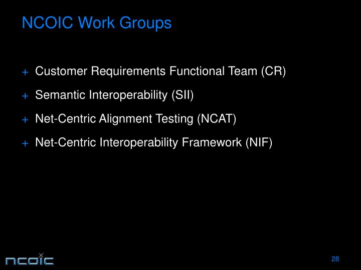 NCOIC Work Groups