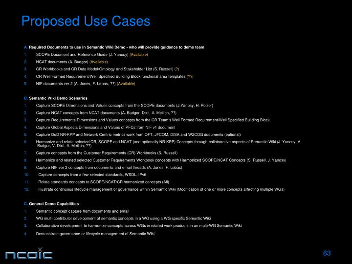 Proposed Use Cases