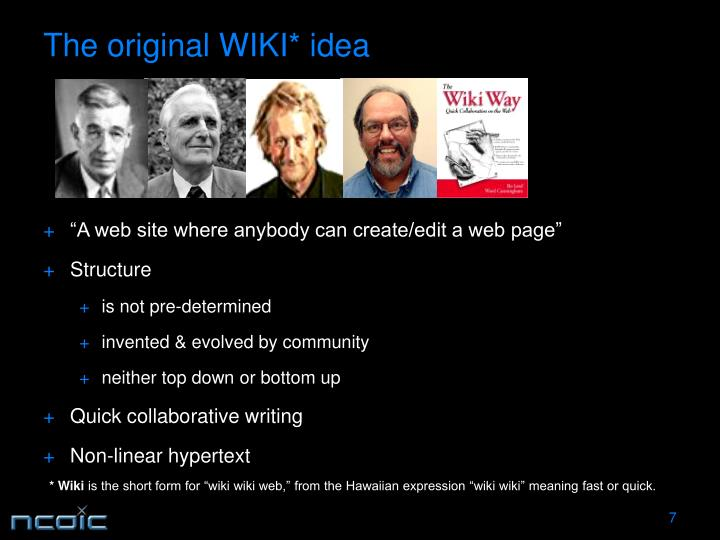 The original WIKI* idea