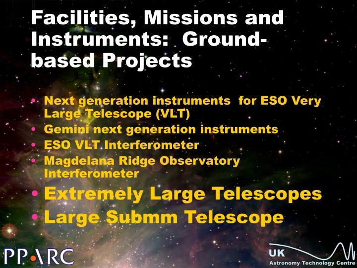 Facilities, Missions and Instruments:  Ground-based Projects