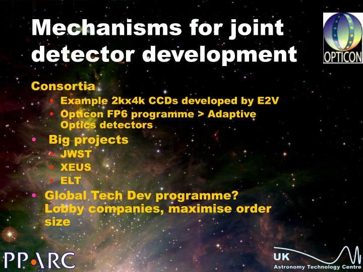 Mechanisms for joint detector development
