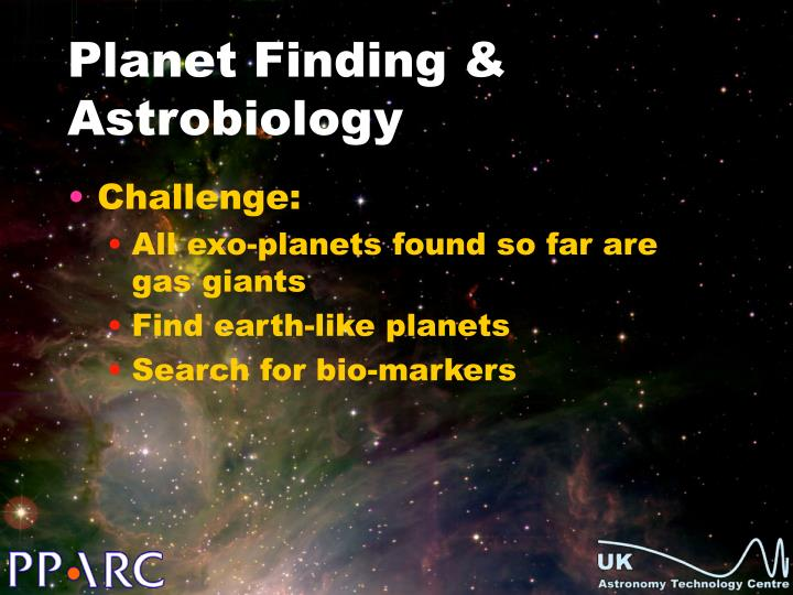 Planet Finding & Astrobiology
