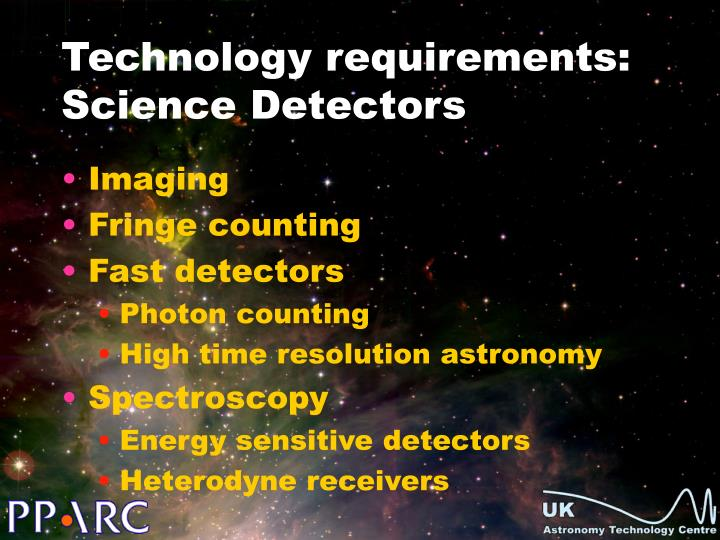 Technology requirements: Science Detectors
