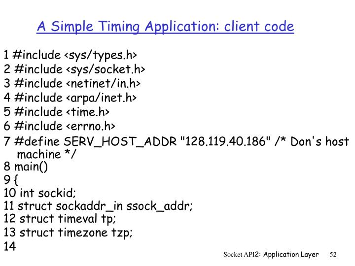 A Simple Timing Application: client code