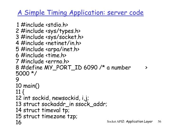 A Simple Timing Application: server code