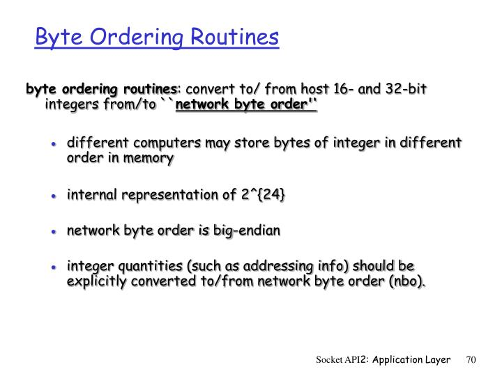 Byte Ordering Routines