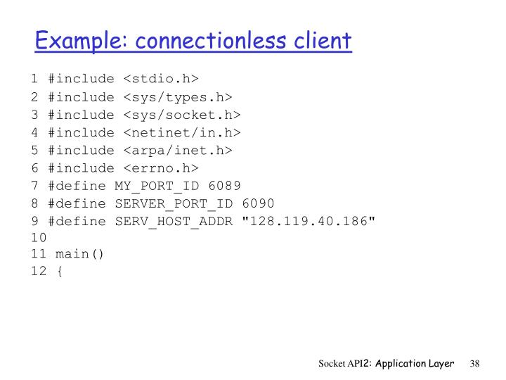 Example: connectionless client