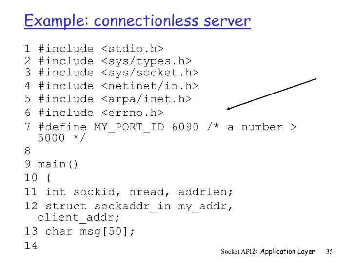 Example: connectionless server