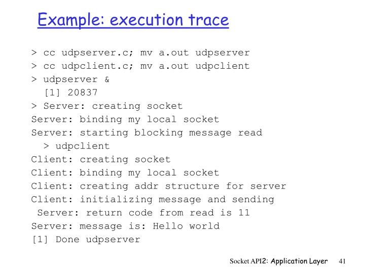 Example: execution trace
