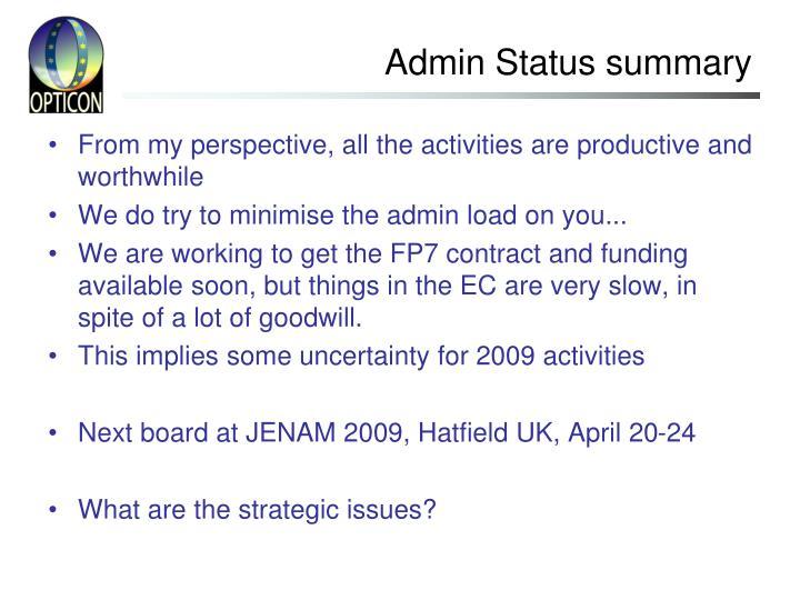 Admin Status summary