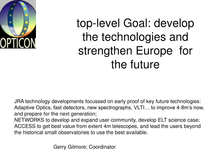 top-level Goal: develop the technologies and strengthen Europe  for the future