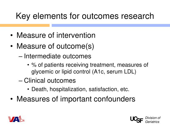 Key elements for outcomes research