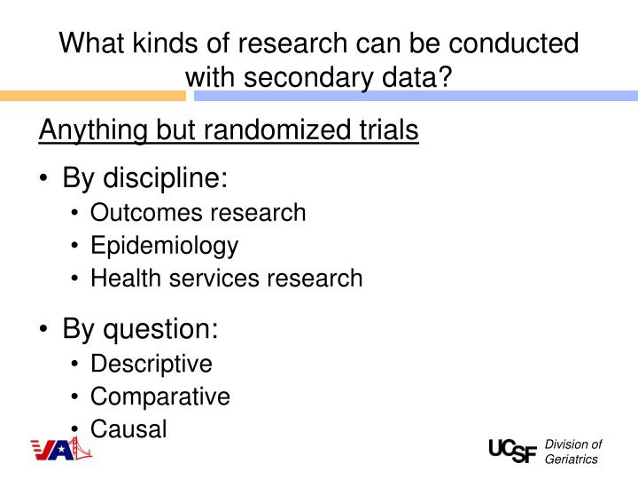 What kinds of research can be conducted with secondary data?