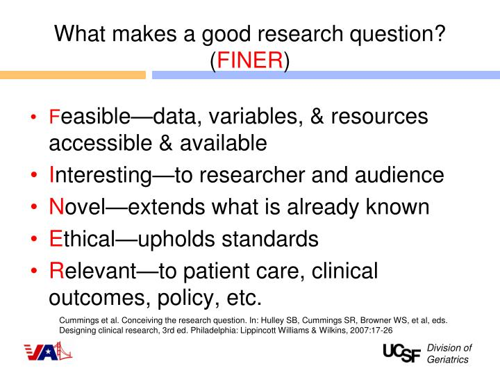 What makes a good research question? (