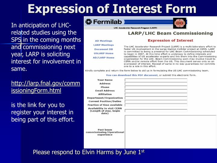 Expression of Interest Form
