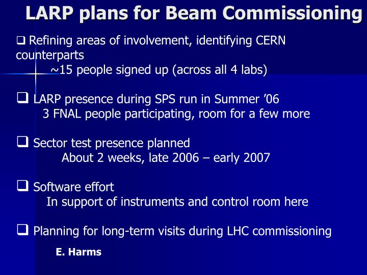 LARP plans for Beam Commissioning