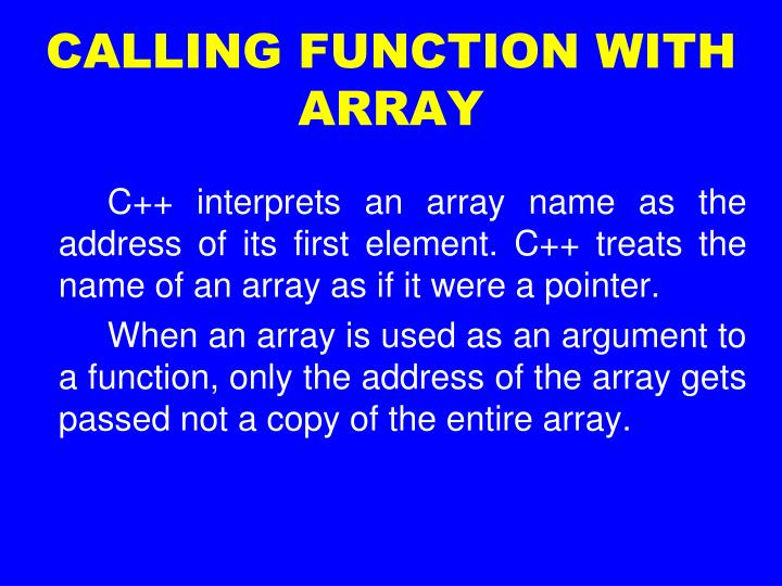 CALLING FUNCTION WITH ARRAY