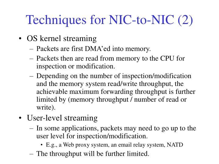 Techniques for NIC-to-NIC (2)