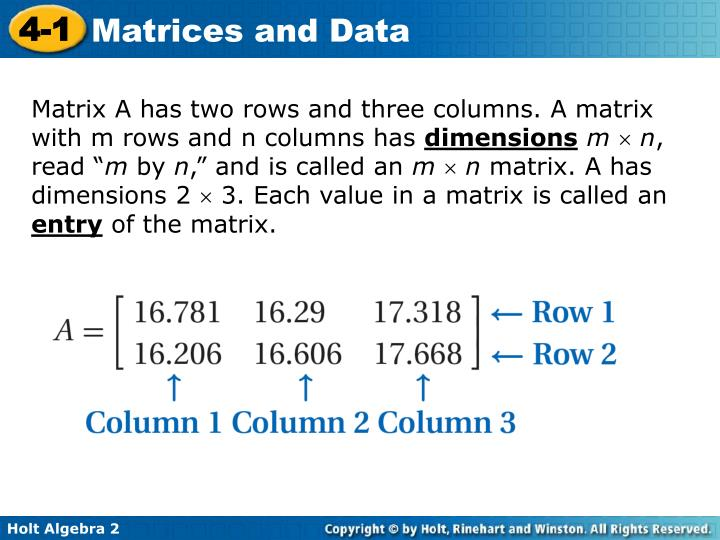 Matrix A has two rows and three columns. A matrix with m rows and n columns has