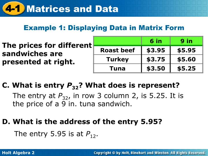 Example 1: Displaying Data in Matrix Form