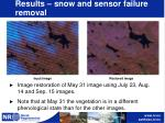 results snow and sensor failure removal