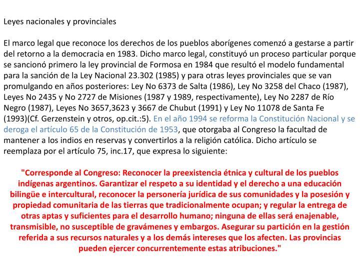 Leyes nacionales y provinciales