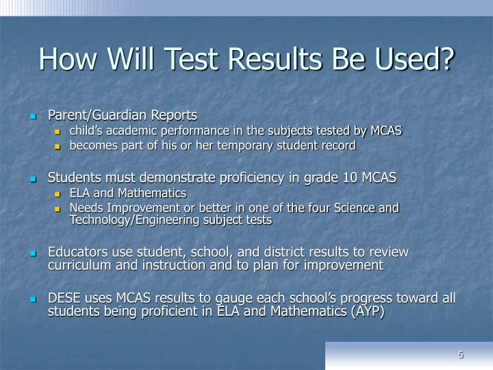 How Will Test Results Be Used?