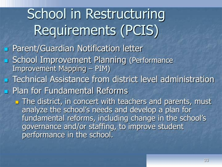 School in Restructuring Requirements (PCIS)