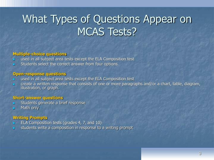 What types of questions appear on mcas tests