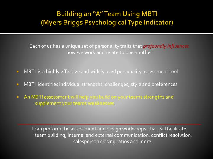 "Building an ""A"" Team Using MBTI"