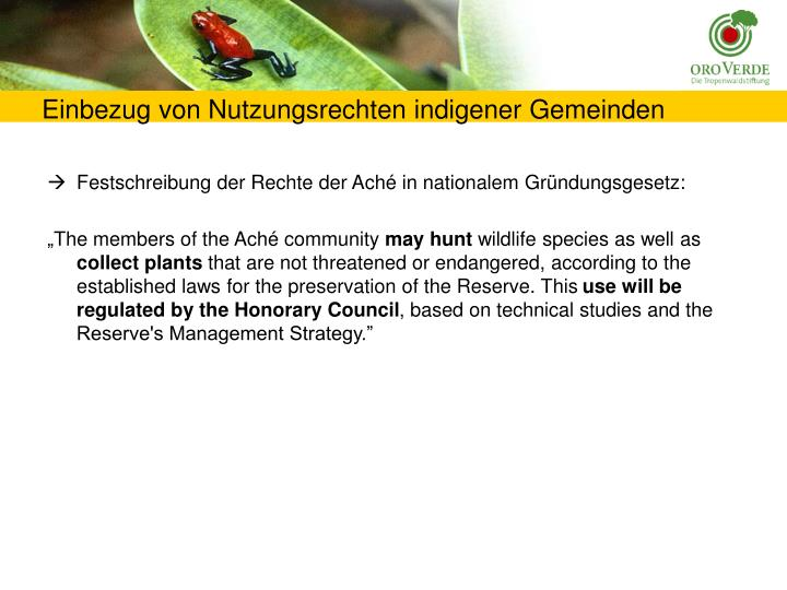 Einbezug von Nutzungsrechten indigener Gemeinden