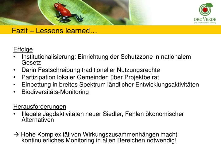 Fazit – Lessons learned…