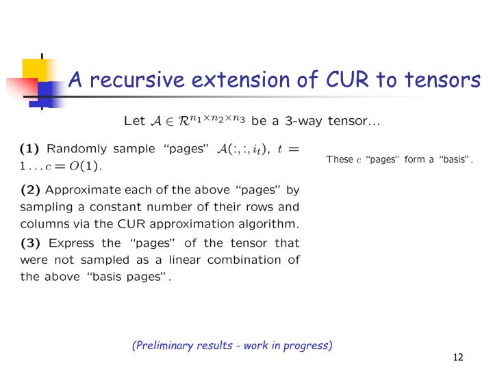 A recursive extension of CUR to tensors