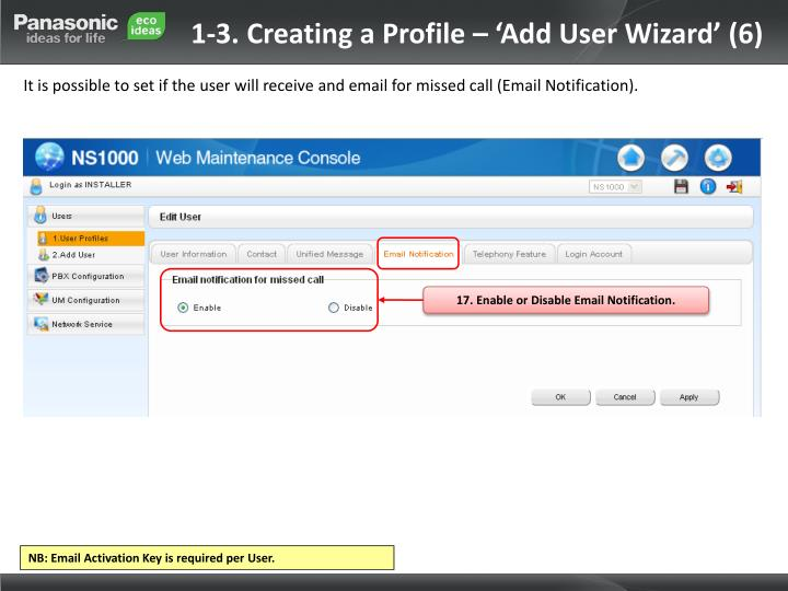 1-3. Creating a Profile – 'Add User Wizard' (6)