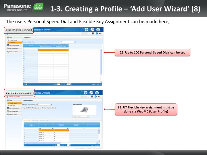 1-3. Creating a Profile – 'Add User Wizard' (8)