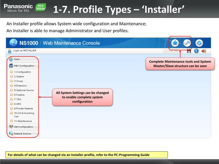 1-7. Profile Types – 'Installer'