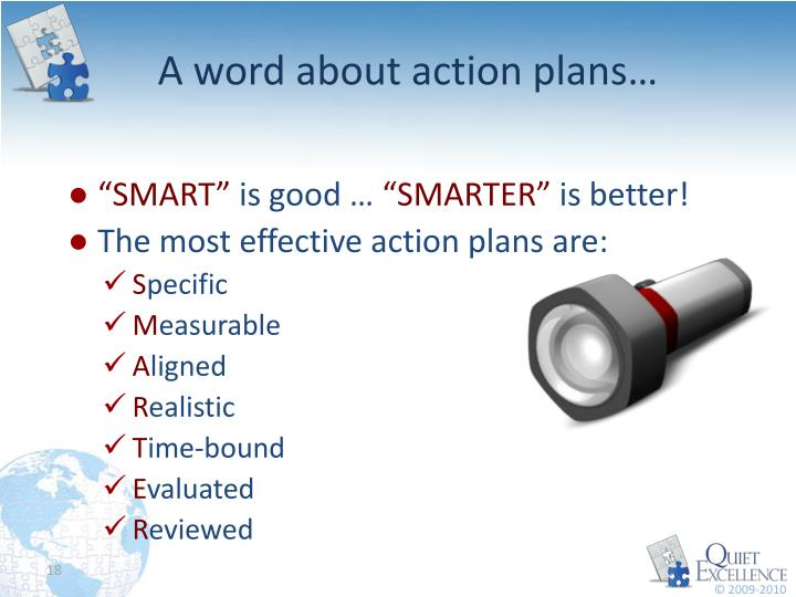 A word about action plans…