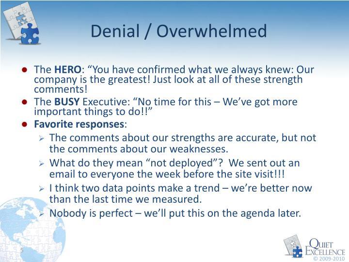 Denial / Overwhelmed