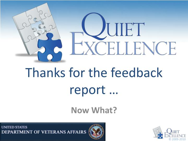 Thanks for the feedback report