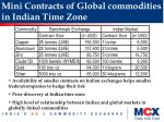 mini contracts of global commodities in indian time zone
