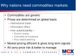 why nations need commodities markets
