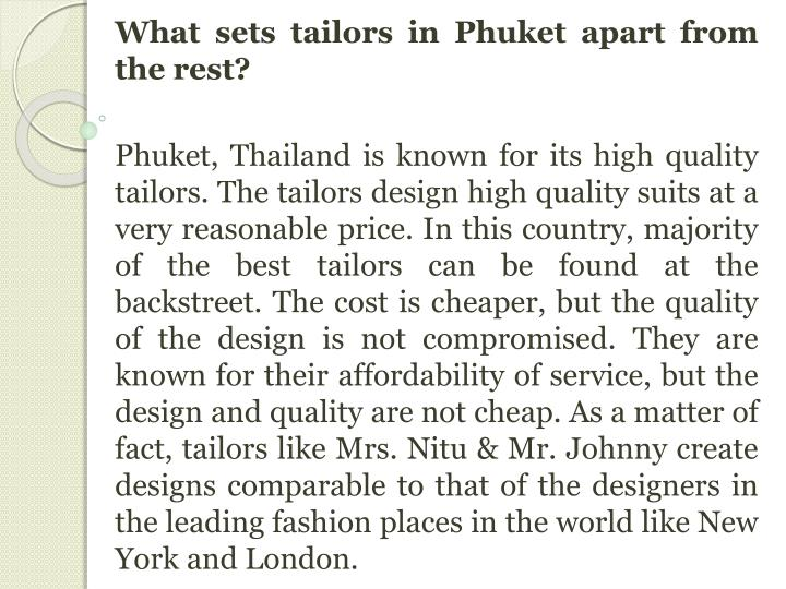 What sets tailors in
