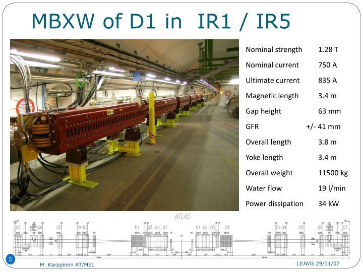 MBXW of D1 in  IR1 / IR5