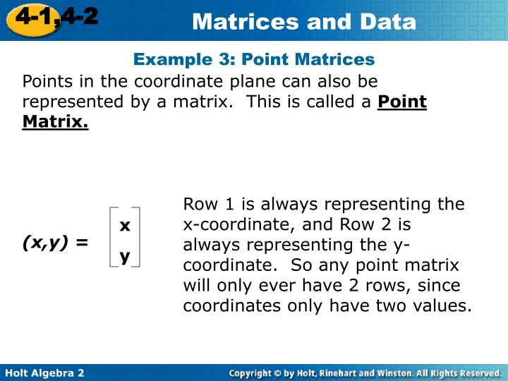 Example 3: Point Matrices