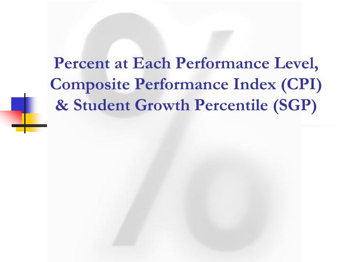 Percent at Each Performance Level, Composite Performance Index (CPI) & Student Growth Percentile (SGP)