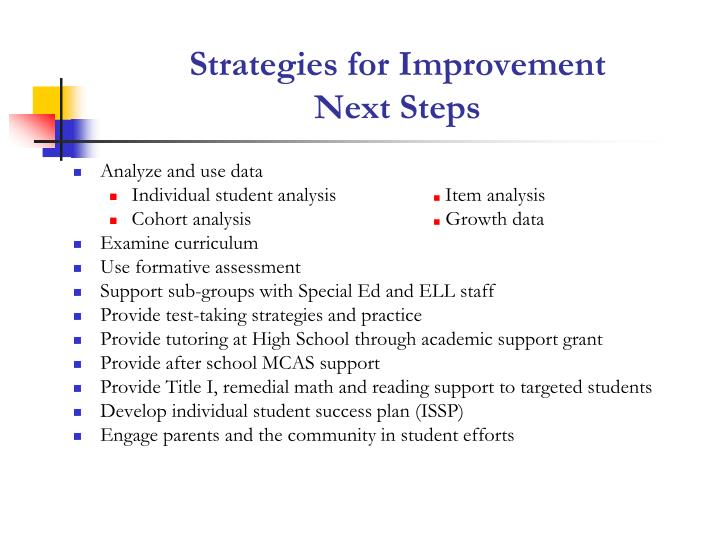 Strategies for Improvement