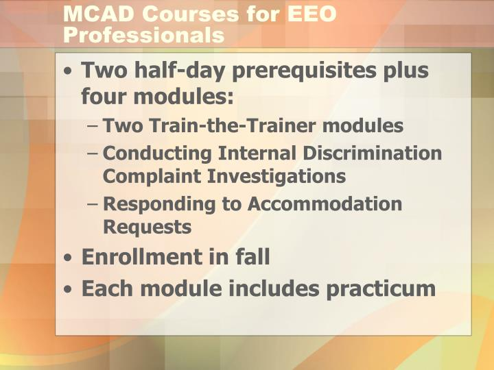 MCAD Courses for EEO Professionals