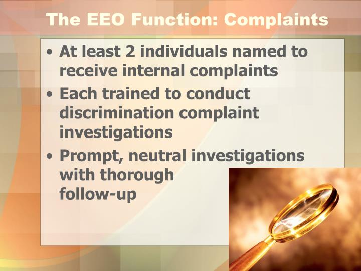 The EEO Function: Complaints