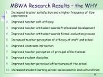 mbwa research results the why