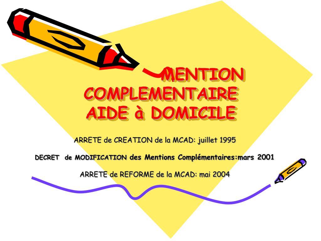 PPT - MENTION COMPLEMENTAIRE AIDE à DOMICILE PowerPoint